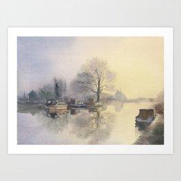 Misty Morning in Hertfordshire Art Print