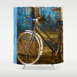 Blue Bicycle in Morocco Shower Curtain