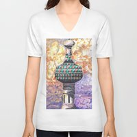 moscow V-neck T-shirts featuring Moscow Sun by HenryMangelsdorf
