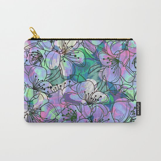 Little Purple Flowers Carry-All Pouch