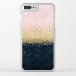 Elegant blush gold and blue simple confetti design Clear iPhone Case