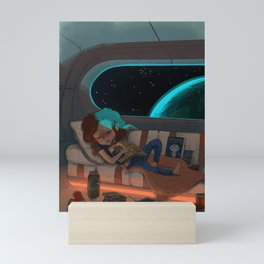 Nap in Space Mini Art Print