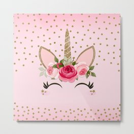 Pink & Gold Floral Unicorn Face Metal Print