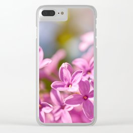 Lilac flowerets bright pink Clear iPhone Case