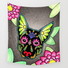 German Shepherd in Black - Day of the Dead Sugar Skull Dog Wall Tapestry