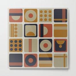 Retro Geometrical Minimalist Squares Metal Print