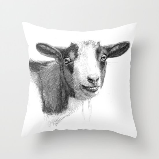 Curious goat sk098 Throw Pillow