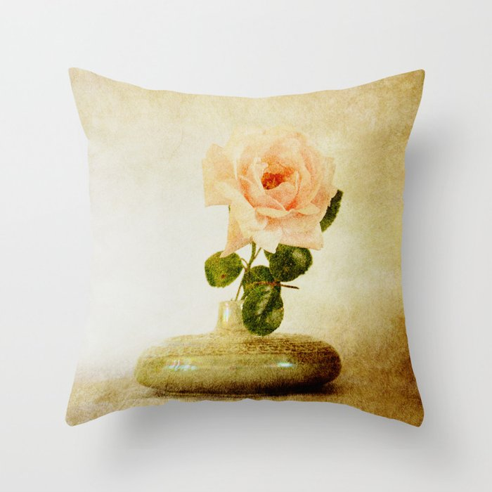 Vintage Rose  - JUSTART © Throw Pillow