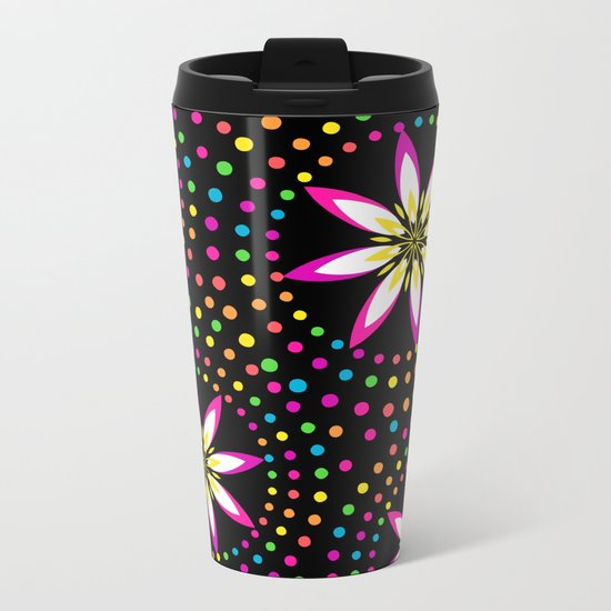 Floral Colorful Circles Metal Travel Mug