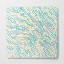 Pastel green teal yellow pink hand painted waves pattern Metal Print