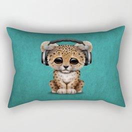 Cute Leopard Cub Dj Wearing Headphones on Blue Rectangular Pillow