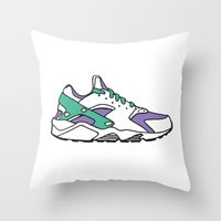sneakers Throw Pillows featuring SNEAKERS COLLECTION by Vincent Battault