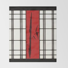 Shoji with bamboo ink painting Throw Blanket