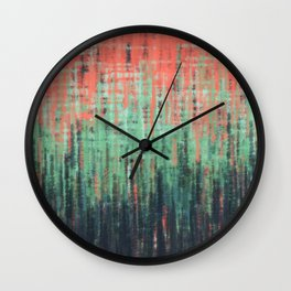 Coral Mint Navy Abstract Wall Clock