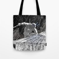 ninja turtle Tote Bags featuring Black and White Ninja Turtle Leonardo by James Tuer