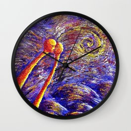 Oil painting Two in violet Wall Clock