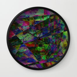 Colourful Memories - Abstract, geometric, textured, dark painting Wall Clock