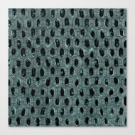 Watercolour Blackwork: 'Lozenge' Burnt Turquoise 1 (dark) Canvas Print