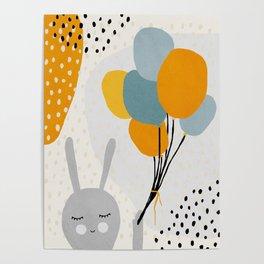 Rabbit, Ballons, Mid century modern kids wall art, Nursery room Poster