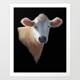 Brown Cow Portrait on Black, Oil Pastel Painting Art Print