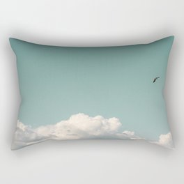 Mint Skies and White Fluffy Clouds #1 Rectangular Pillow