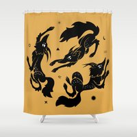 dancing Shower Curtains featuring Dancing wolves by Anya Volk