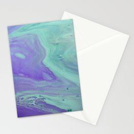 Blue Purple Flow - Fluid Acrylic Abstract Painting Stationery Cards