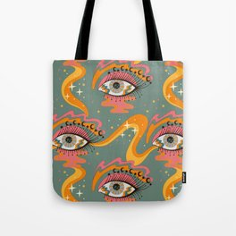 Cosmic Eye Retro 70s, 60s inspired psychedelic Tote Bag