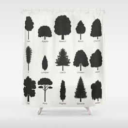 European Tree Species Shower Curtain