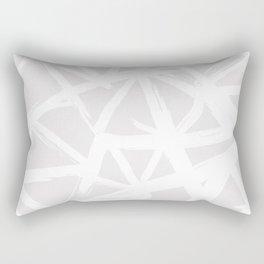 Modern white abstract geometric brushstrokes light grey Rectangular Pillow