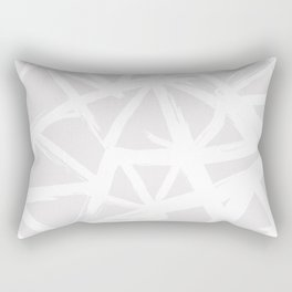 Modern white abstract geometric brushstrokes light grey Rectangular Pillow