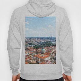 Prague Cityscape | Red Rooftop Old World Bridge Majestic European City Landscape Photograph Hoody