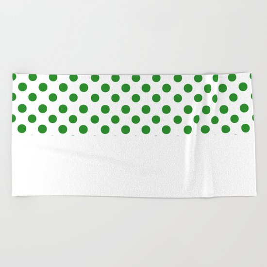 Polka Dots (Forest Green/White) Beach Towel