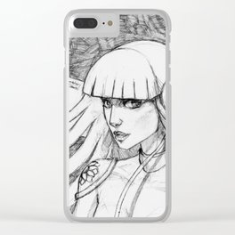 Doll 3 black & white Clear iPhone Case