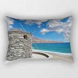 A windmill on the beach of Korthi in Andros island, Greece Rectangular Pillow