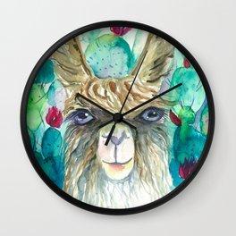 Llama in cacti Wall Clock