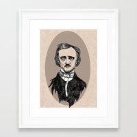 edgar allan poe Framed Art Prints featuring edgar allan poe by Lily Livingston