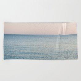 PINK SKY, BLUE SEA, EVENING SWIM Beach Towel
