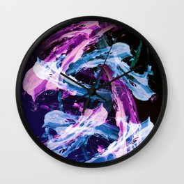 Blue and Magenta Abstract Wisps Wall Clock