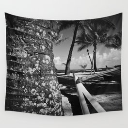 Kuau Beach Palm Trees and Hawaiian Outrigger Canoe Paia Maui Hawaii Wall Tapestry