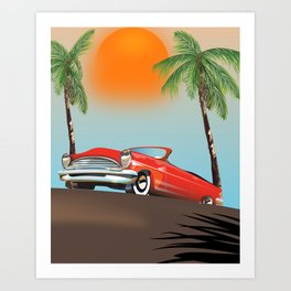 Vintage Red Classic Car Art Print