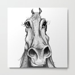 Horse sketch black and white Metal Print