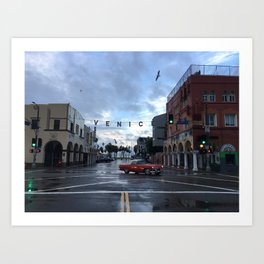 Rainy Morning in Los Angeles Art Print