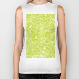 Modern white hand drawn floral lace illustration on lime green punch Biker Tank