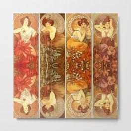 "Alphonse Mucha ""The Gem Series - Ruby, Amethyst, Emerald, Topaz"" Metal Print"