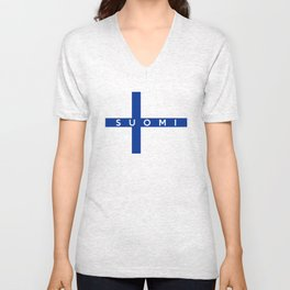 finland finnish country flag suomi name text Unisex V-Neck
