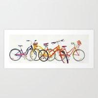 bikes Art Prints featuring bikes by takmaj