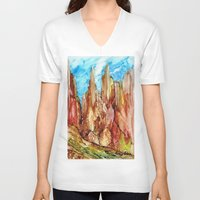 southwest V-neck T-shirts featuring Rocky Southwest by Rosie Brown
