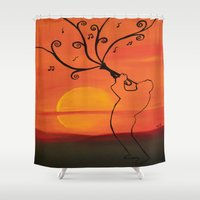 trumpet Shower Curtains featuring Playing a trumpet  by Saribelle Inspirational Art