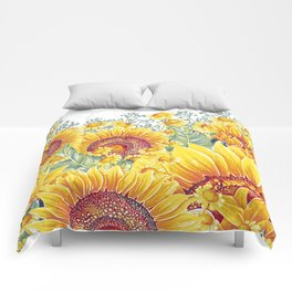 Vintage Garden 15 (Sunflower Field) Comforters